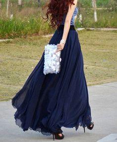 women's navy blue silk Chiffon 8 meters of skirt circumference long dress maxi skirt maxi dress XS-L via Etsy