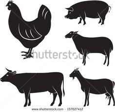 vector set of farm animals chicken, cow, sheep, goat, pig - stock vector