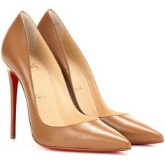 Christian Louboutin So Kate 120 Leather Pumps ($600) ❤ liked on Polyvore featuring shoes, pumps, heels, louboutin, обувь, brown, heel pump, christian louboutin pumps, leather footwear and brown pumps