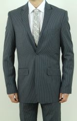 Men's Two Button Charcoal Pin Stripe Slim Fit Suit  ~BUY 1 GET 1 FREE~