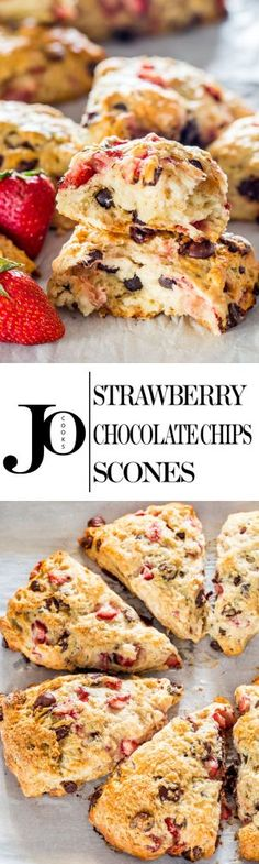 These tender strawberry chocolate chip scones melt in your mouth! A buttermilk scone batter, lightly sweetened and loaded with strawberries and chocolate chips. Breakfast Pastries, Breakfast Pancakes, Bread And Pastries, Breakfast Recipes, Brunch, Chocolate Strawberries, Biscuit Recipe, Chocolate Chips, Chocolate Muffins
