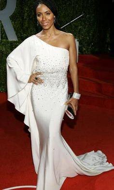 Jada Pinkett Smith pretty in one shoulder white gown.