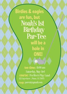 Hole in One Partee Invitation Golf Themed Birthday by KateOGroup, $15.00