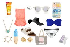 """""""beach vibes"""" by rileygarrison ❤ liked on Polyvore featuring Calypso Private Label, Norma Kamali, Birkenstock, Victoria's Secret, Casetify, Yves Saint Laurent, Kate Spade, Quiksilver, Ray-Ban and Joie"""