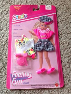1993 Mattel Barbie Stacie Doll Fashions Feeling Fun Short Set Swimsuit NIP…