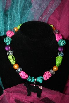 Sass N' Stones - Multi Colored Necklace with Steer Pendant, $37.95 (http://sass-n--stones.mybigcommerce.com/multi-colored-necklace-with-steer-pendant/)