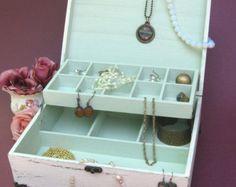 """Wooden Jewelry Box Creamy-Dreamy """"Shabby Chic"""" , jewelry cabinet, jewelry storage"""
