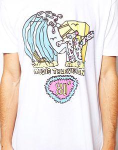 Enlarge ASOS Longline T-Shirt With MTV 81 Print