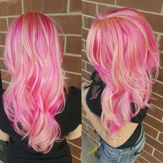 Prism placement using pravana vivids and pastels for this multi dimensional pink finish. Hair by tori at applauze salon