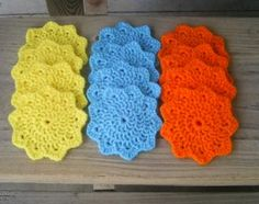 Set of 12 Sun Coasters - Yellow, Blue and Orange by YarnOverTyler for $6.00