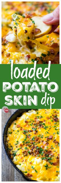 Loaded Potato Skin Dip is simple, easy, and oh so cheesy! |Take Two Tapas