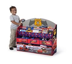 Toy Storage Box Children Deluxe Book and Toy Organizer Disney Pixar Cars Bins  #DeltaChildren