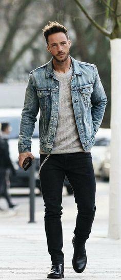 653d4b09ca with a street wear combo gray sweater light wash denim jacket black jeans  black chelsea boot - Bewerbungsvorlagen KB-Design - Pineagle
