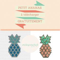 """Diagramme """"petit Ananas"""" brickstitch gratuit pour reproduction à titre privé (pas de commercialisation). (c) Des Etoiles à la Pistache. Peyote Patterns, Beading Patterns, Beaded Earrings, Beaded Jewelry, Peyote Beading, Beadwork, Ladder Stitch, Beaded Animals, Happy Mail"""