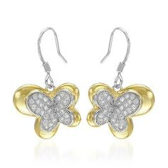 Earrings With Cubic zirconia Beautifully Crafted in 14K/925 Gold plated Silver Length 28mm Unknown. $85.50