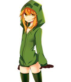 1girl clothed creeper cupa green minecraft mob_talker orange_hair sweatshirt