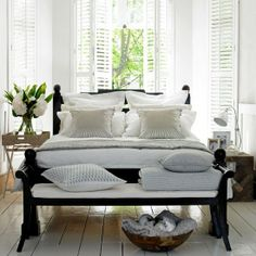 love the shutter look.  would love this beachy bedroom!!!!