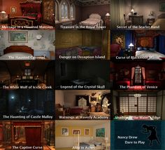 A list of various rooms Nancy Drew has stayed in during some of her many cases.