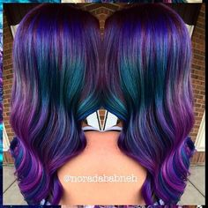 Deep purple color melt with hints of blue and teal by Nora Dababneh Mermaid waves hotonbeauty.com