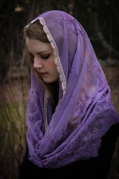 Evintage Veils~ LENT Rich Purple Embroidered Lace Chapel Veil Mantilla Infinity Latin Mass