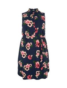 Plus Size Navy Jersey Floral Print Shirt Dress  | New Look