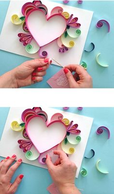 Best 12 Incredible work in quilling technique Family Valentines Day, Valentines Day Activities, Valentine Crafts, Arte Quilling, Quilling Paper Craft, Paper Crafts, Easy Crafts For Kids, Easy Diy Crafts, Art For Kids