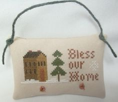 Bless Our Home Ornament Cross Stitched Winter Christmas by luvinstitchin4u on Etsy