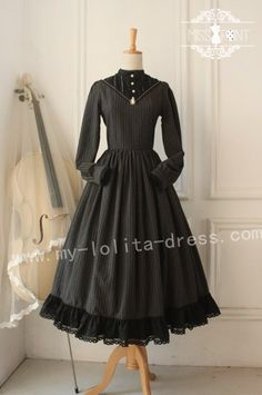 Vintage College School Style Wool Classic Lolita OP Dress