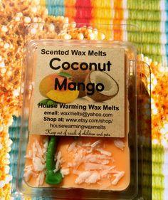 Coconut Mango Wax Melts-House Warming Wax Melts, soy melts, wax clammies, wax melts by HouseWarmingWaxMelts on Etsy
