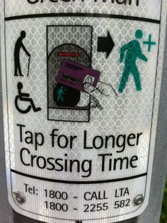 In Singapore, the elderly and disabled can tap for a longer crossing time.