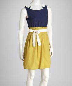 Take a look at this Navy & Yellow Color Block Tied Dress by Freeway Apparel on #zulily today!
