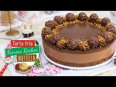 Ferrero Rocher & Nutella no baked cake Nutella Cheesecake, Nutella Cake, Brownie Cake, Chocolate Cake Video, Chocolate Desserts, Tarta Chocolate, Torta Ferrero Rocher, Easy Desserts, Dessert Recipes