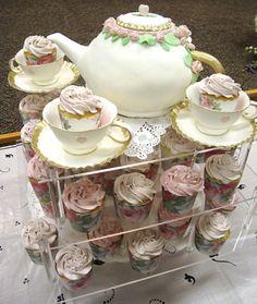 Tea pot cake and hand made gum paste tea cups