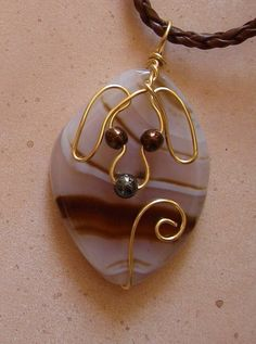 Unique Gold Wire Dog on Brown Striped Agate Pendant by jillmh123