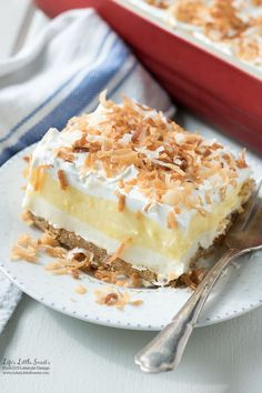 This Perfect Coconut Cream Lush Dessert Recipe recipe is light, creamy and filled with coconut deliciousness. It's a one-pan dessert that feeds a crowd and even has a no-bake crust option for those hot weather days. Layered Desserts, Summer Desserts, Holiday Desserts, Easy Desserts, Delicious Desserts, Potluck Desserts, No Bake Desserts, Healthy Desserts, Fluff Desserts