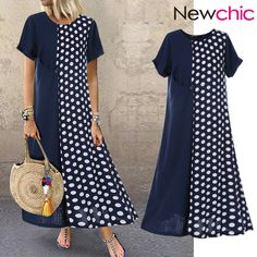 Cheap best O-NEWE Polka Dot Patchwork Short Sleeve Summer Plus Size Dress on Newchic, there is always a plus size print dresse suits you! Plus Size Maxi Dresses, Plus Size Outfits, Short Sleeve Dresses, Plus Size Sommer, Plus Size Kleidung, Look Fashion, Polka Dots, Dress Shoes, Clothes