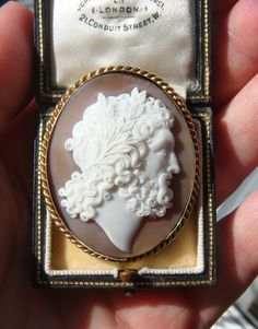 Antique 1880s Shell Cameo & Gold Brooch of Zeus, Signed