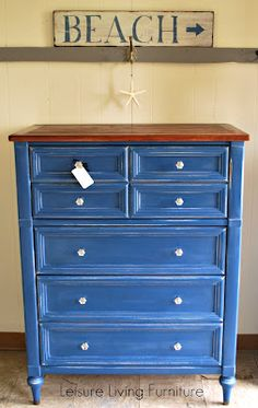 Great Painted Chest idea for your Cape Cod Cottage.Annie Sloan Chalk Paint in Napoleonic Blue (a limited edition colour), finished with Clear Wax (by Leisure Living Furniture) Annie Sloan Painted Furniture, Chalk Paint Furniture, Annie Sloan Chalk Paint, Distressed Furniture, Repurposed Furniture, How To Distress Furniture, Living Furniture, Diy Furniture, Blue Furniture