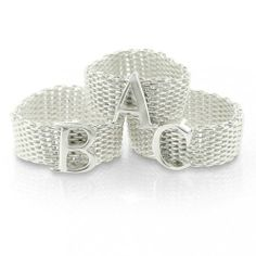 Bling Jewelry Sterling Silver Alphabet Letter M Mesh Ring