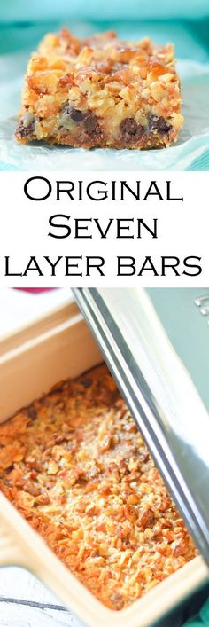 The perfect dessert, these classic seven layer bars are easy to make with only one dish to clean! Made with butterscotch, they are the original treat! Best Dessert Recipes, Easy Desserts, Sweet Recipes, Holiday Recipes, Cookie Recipes, Delicious Desserts, Yummy Food, Bar Recipes, Recipes