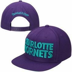 Mitchell & Ness Charlotte Hornets Hardwood Classics Title Snapback Hat - Royal Blue $25