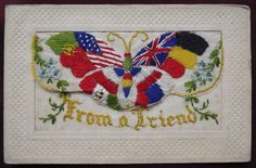 Ww1 #embroidered silk #postcard. from a friend. large patriotic #butterfly,  View more on the LINK: http://www.zeppy.io/product/gb/2/252625620562/