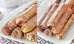 French Toast Roll-Ups: Soft and fluffy, these cinnamon roll-ups can be filled with peanut butter, jelly, cream cheese, Nutella, etc