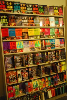A wall of J.D. Robb books - I'm up to date! I've read all that are currently published & have the 2 or 3 upcoming already preordered on my Nook! Lol
