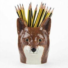 Desk Accesories, Office Accessories, Woodland House, Fox Decor, Desk Tidy, Equestrian Decor, Ceramic Pots, Ceramic Animals, Funny