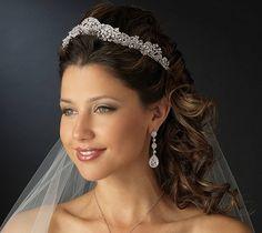 New! Majestic Antique Silver Plated Rhinestone Bridal Wedding Tiara Crown!