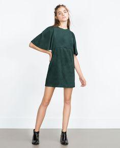 Groene suede jurk zara