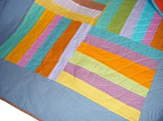 Baby Quilt - Toddler Blanket, Patchwork Throw - solids - modern geometric - retro 60s. £70.00, via Etsy.