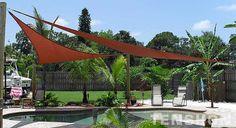 Pool Shade Sails by Tenshon - tropical - pool - other metro - Tenshon, LLC