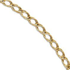 14k Gold Fancy Link Bracelet - 7 inches, Women's